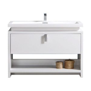 "Levi 48"" Modern Bathroom Vanity w/ Cubby Hole - High Gloss White"