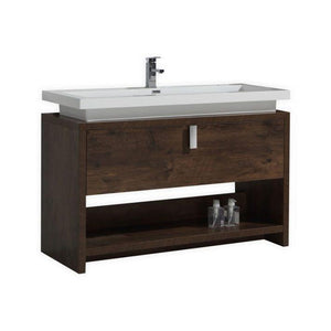 "KubeBath Levi 48"" Modern Bathroom Vanity w/ Cubby Hole - Rose Wood, L1200RW"