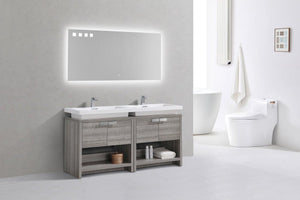 "KubeBath Levi 63"" Modern Bathroom Vanity w/ Cubby Hole - Ash Gray, L1600HGASH test"