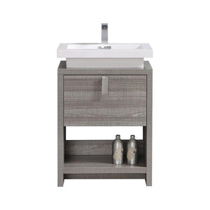"KubeBath Levi 24"" Modern Bathroom Vanity w/ Cubby Hole - Ash Gray, L600HGASH test"