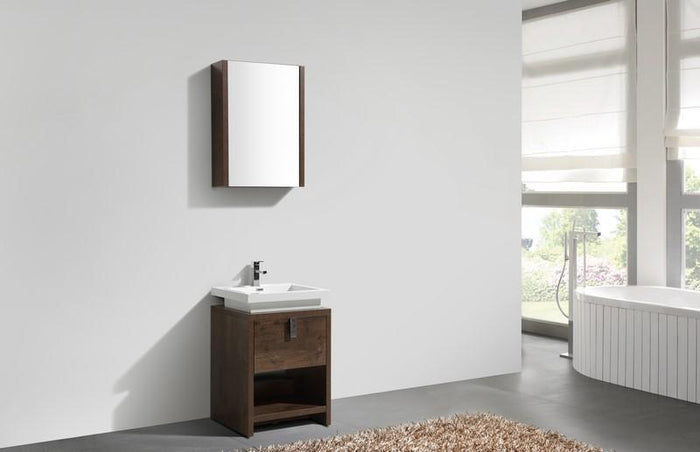 "KubeBath Levi 24"" Modern Bathroom Vanity w/ Cubby Hole - Rose Wood, L600RW"