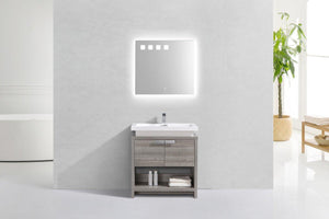 "KubeBath Levi 32"" Modern Bathroom Vanity w/ Cubby Hole - Ash Gray, L800HGASH test"