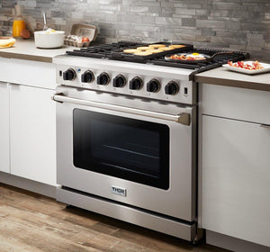 Thor Kitchen 36 in. 6.0 Cu. Ft Single Oven Professional Natural Gas Range in Stainless Steel, LRG3601U test