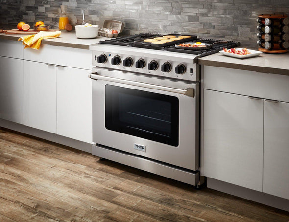 Thor Kitchen 36 in. 6.0 Cu. Ft Single Oven Professional Propane Gas Range in Stainless Steel, LRG3601ULP