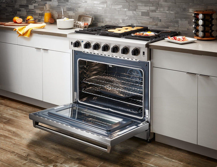 "Thor Kitchen 36"" 6.0 Cu. Ft Professional Natural Gas Range in Stainless Steel, LRG3601U"