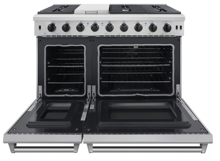 Thor Kitchen 48 in. 6.8 cu. ft. Double Oven Gas Range in Stainless Steel, LRG4807U