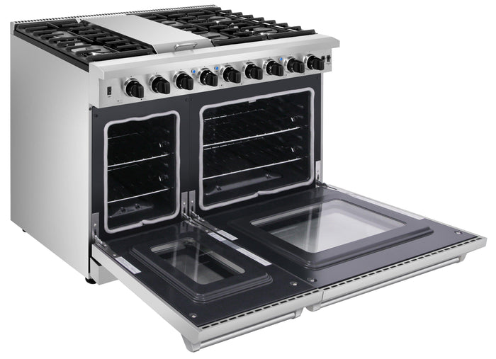 "Thor Kitchen 48"" 6.8 cu. ft. Double Oven Propane Gas Range in Stainless Steel, LRG4807ULP"