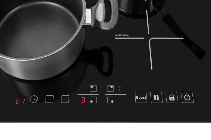 Lycan 24 in. Glass Induction Cooktop in Black with 4 Elements, NEC2401i