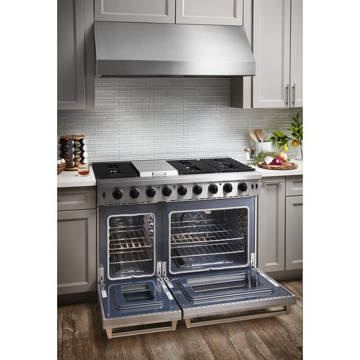 Thor Kitchen 48 in. 6.8 cu. ft. Double Oven Propane Gas Range in Stainless Steel, LRG4807ULP