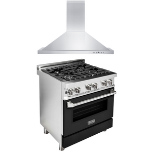 "ZLINE 30"" Dual Fuel Range with Black Matte Door & 30"" Range Hood Package, AP-RA-BLM-30"