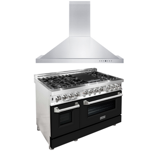 "ZLINE 48"" Dual Fuel Range with Black Matte Door & 48"" Range Hood Package, AP-RA-BLM-48"