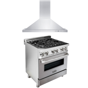 "ZLINE 30"" Dual Fuel Range with DuraSnow® Door & 30"" Range Hood Package, AP-RA-SN-30"