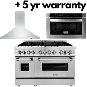 "ZLINE 48"" Dual Fuel Range, Range Hood, Microwave Drawer & 5 Year Protection Plan, AP-RA48-2-5W"