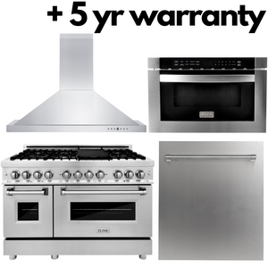 "ZLINE 4 Piece Package - 48"" Dual Fuel Range, Range Hood, Microwave Drawer, Dishwasher & 5 Year Protection Plan, AP-RA48-3-5W"