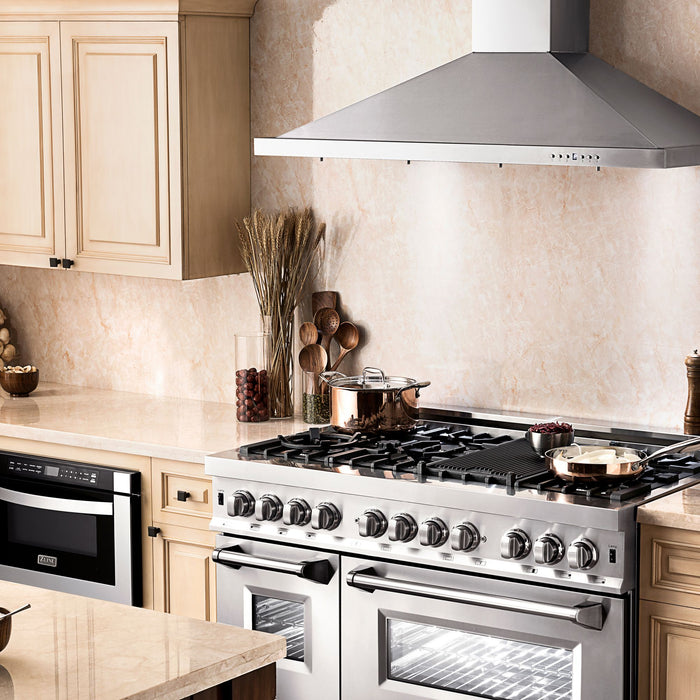 "ZLINE 4 Piece Package - 48"" Dual Fuel Range, Range Hood, Microwave Drawer & Dishwasher, AP-RA48-3"