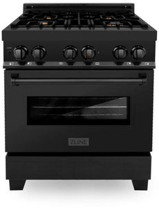 "ZLINE 30"" Professional Gas Burner/Electric Oven in Black Stainless Steel with Brass Burners, RAB-BR-30"