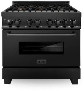 "ZLINE 36"" Professional Gas Burner/Electric Oven in Black Stainless Steel with Brass Burners, RAB-BR-36"