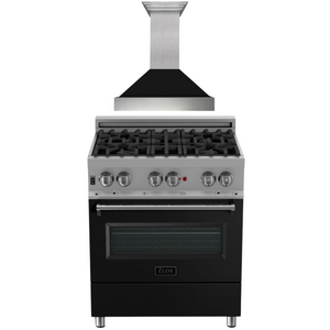 "ZLINE 30"" Dual Fuel Range in DuraSnow® with Black Matte Door & 30"" Range Hood Package, AP-RAS-BLM-30"