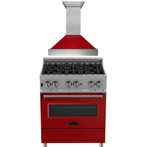 "ZLINE 30"" Dual Fuel Range in DuraSnow® with Red Gloss Door & 30"" Range Hood Package, AP-RAS-RG-30"