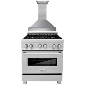 "ZLINE 30"" Dual Fuel Range in DuraSnow® with DuraSnow® Door & 30"" Wall Mount Range Hood, AP.RAS-SN-30.8654SN-30"