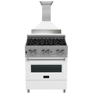 "ZLINE 30"" Dual Fuel Range in DuraSnow® with White Matte Door & 30"" Range Hood Package, AP-RAS-WM-30"