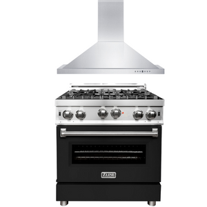 "ZLINE 30"" Gas Range with Black Matte Door & 30"" Range Hood Package, AP-RG-BLM-30"