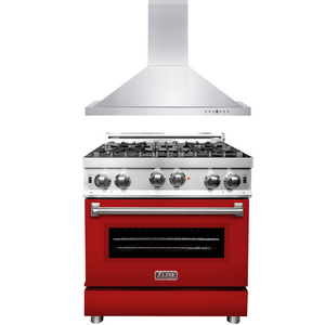 "ZLINE 30"" Gas Range with Red Matte Door & 30"" Range Hood Package, AP-RG-RM-30"