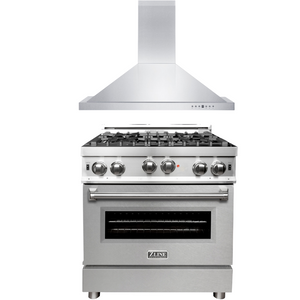 "ZLINE 30"" Gas Range with DuraSnow®Door & 30"" Range Hood Package, AP-RG-SN-30"