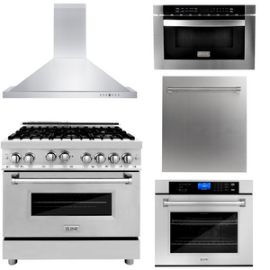 "ZLINE 36"" Gas Range, Range Hood, Microwave Drawer, Dishwasher & Wall Oven Package, AP-RG36-5"