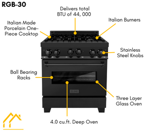 "ZLINE 30"" Gas Range in Black Stainless Steel & 30"" Range Hood Package, AP-RGB-30"