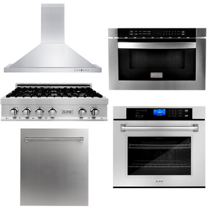 "ZLINE 36"" Rangetop, Range Hood, 30"" Wall Oven, Microwave & Dishwasher Package, AP-RT36-3"