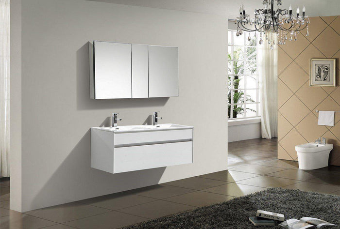 "KubeBath Fitto 48"" Wall Mount Modern Bathroom Vanity - Double Sink - High Gloss White, S1200DGW"