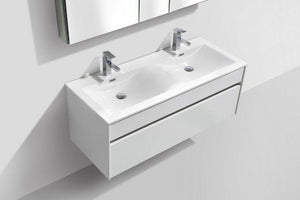 "KubeBath Fitto 48"" Wall Mount Modern Bathroom Vanity - Double Sink - High Gloss White, S1200DGW test"