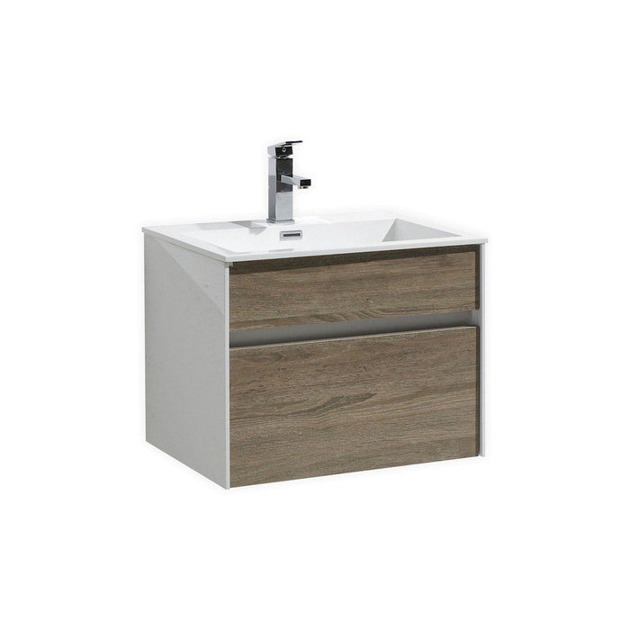 "KubeBath Fitto 24"" Havana Oak Wall Mount Modern Bathroom Vanity, S600CO"