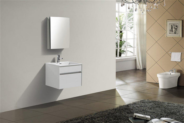 "KubeBath Fitto 24"" High Gloss White Wall Mount Modern Bathroom Vanity, S600GW"
