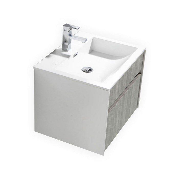 "KubeBath Fitto 24"" Ash Gray Wall Mount Modern Bathroom Vanity, S600HGASH"