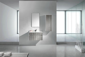 "KubeBath Fitto 24"" Ash Gray Wall Mount Modern Bathroom Vanity, S600HGASH test"