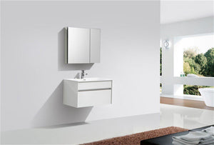 "KubeBath Fitto 32"" Wall Mount Modern Bathroom Vanity - High Gloss White, S800GW, S800GW test"