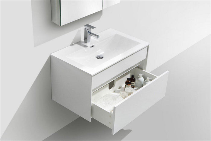 "KubeBath Fitto 32"" Wall Mount Modern Bathroom Vanity - High Gloss White, S800GW, S800GW"