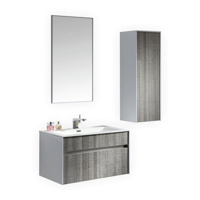 "KubeBath Fitto 32"" Wall Mount Modern Bathroom Vanity - Ash Gray, S800HGASH"