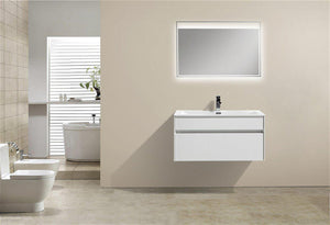 "KubeBath Fitto 36"" High Gloss White Wall Mount Modern Bathroom Vanity, S900GW test"