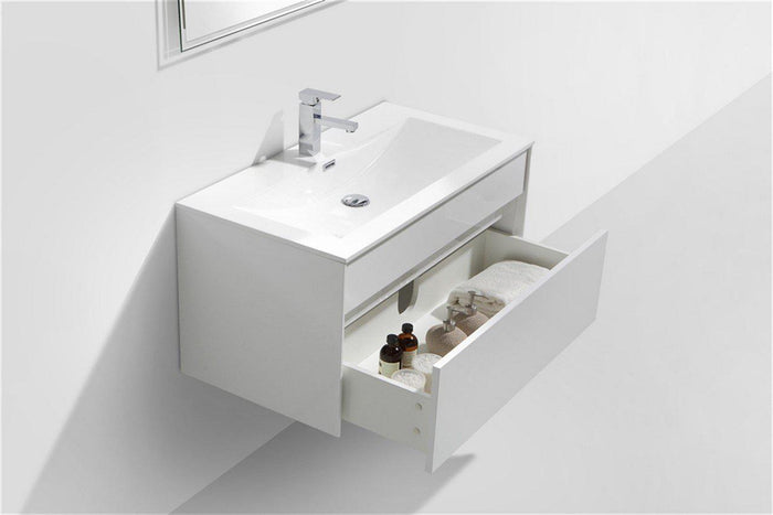 "KubeBath Fitto 36"" High Gloss White Wall Mount Modern Bathroom Vanity, S900GW"