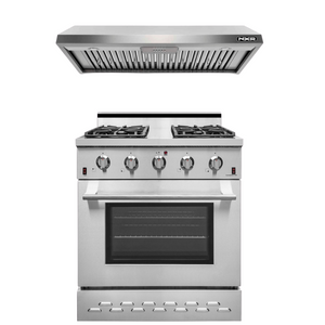"NXR 30"" Natural Gas Range and Under Cabinet Range Hood Package, SC3055EHBD"