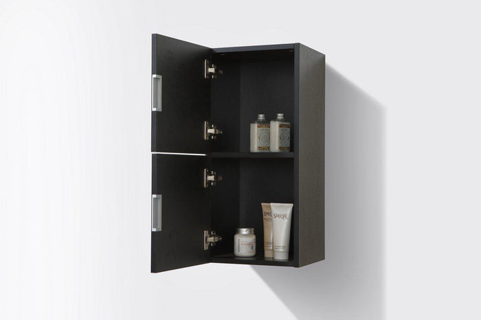 "KubeBath Bliss 12"" Wide by 24"" High Linen Side Cabinet With Two Doors in Black Wood Finish, SLBS28-BK"