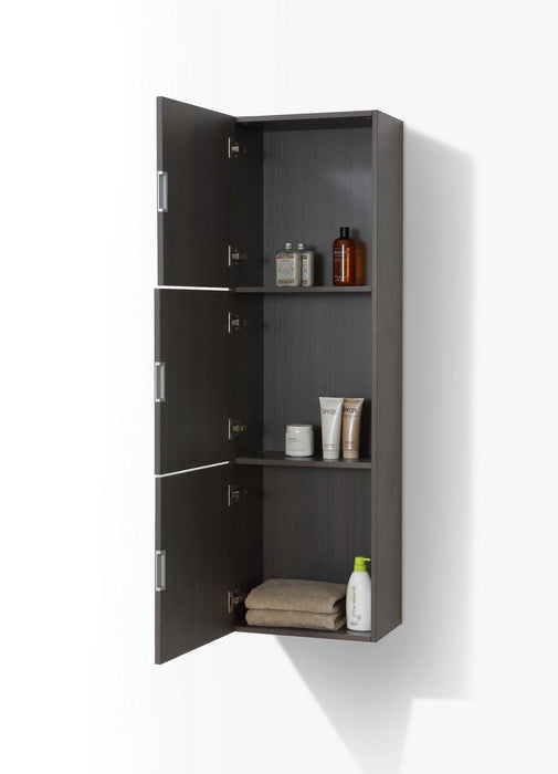 "KubeBath Bliss 18"" Wide by 59"" High Linen Side Cabinet With Three Doors in Gray Oak Finish, SLBS59-GO"