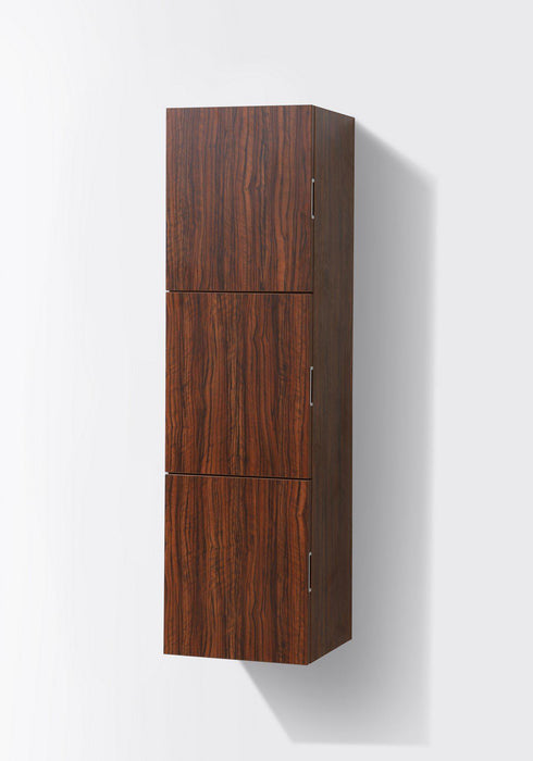 "KubeBath Bliss 18"" Wide by 59"" High Linen Side Cabinet With Three Doors in Walnut Finish, SLBS59-WNT"