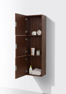 "KubeBath Bliss 18"" Wide by 59"" High Linen Side Cabinet With Three Doors in Walnut Finish, SLBS59-WNT test"