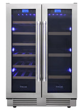"Thor Kitchen 24"" 21 Bottle & 95-Can Wine Cooler, TBC2401DI"