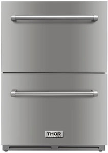 "Thor Kitchen 24"" 5.4 cu. ft. Built-in Double Drawer Refrigerator, TRF2401U"