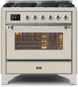 "ILVE 36"" Majestic II Series Natural Gas Burner and Single Electric Oven in Antique White with Chrome Trim, UM096DNS3AWCNG"